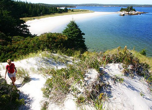 Walking the dunes at Carter's Beach, Queens County, Nova Scotia.