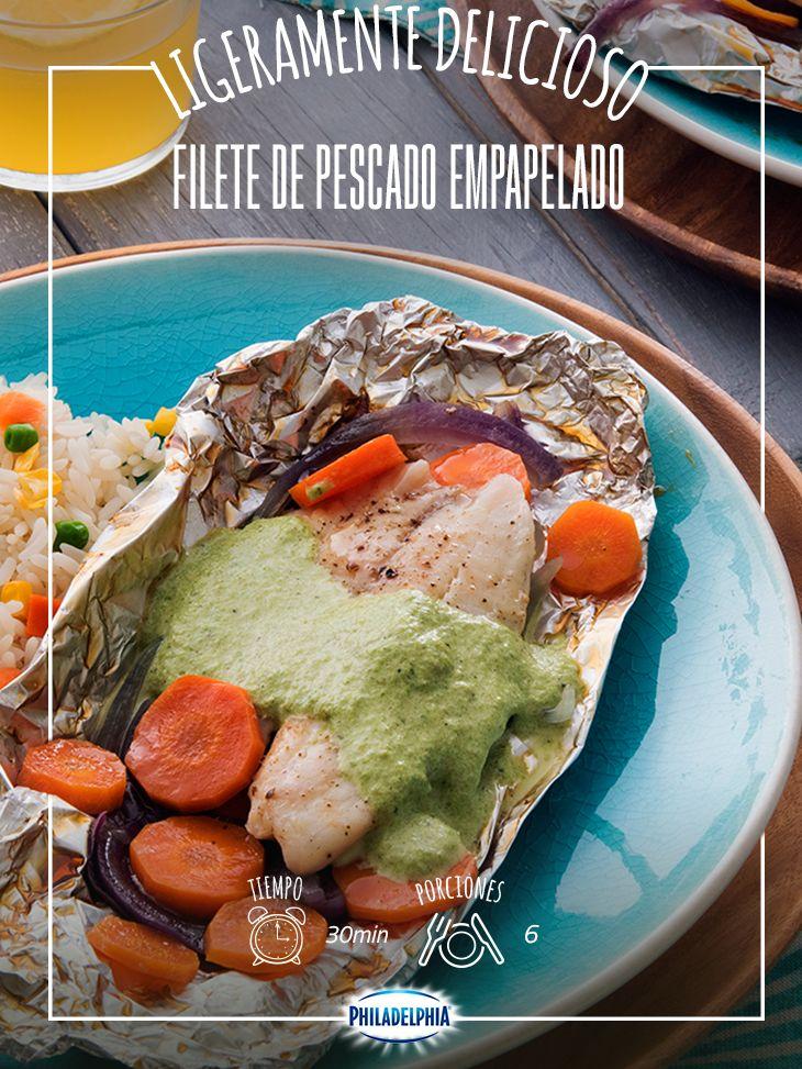 #VuelveACasa y llama a todos a la mesa, este rico Filete está listo. #quesophiladelphia #quesocrema #philadelphia #pescado #filete #empapelado #comida #queso #receta