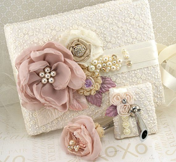 Wedding Guest Book and Pen Set Signature Book in Blush by SolBijou, $140.00