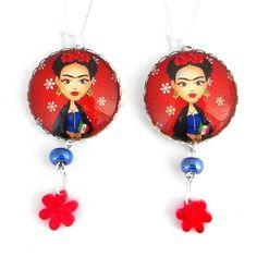 Frida kahlo, cabochon, photo, céramique et fleur en plaxiglass