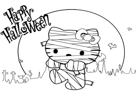 Hello Kitty Halloween Mummy Coloring page