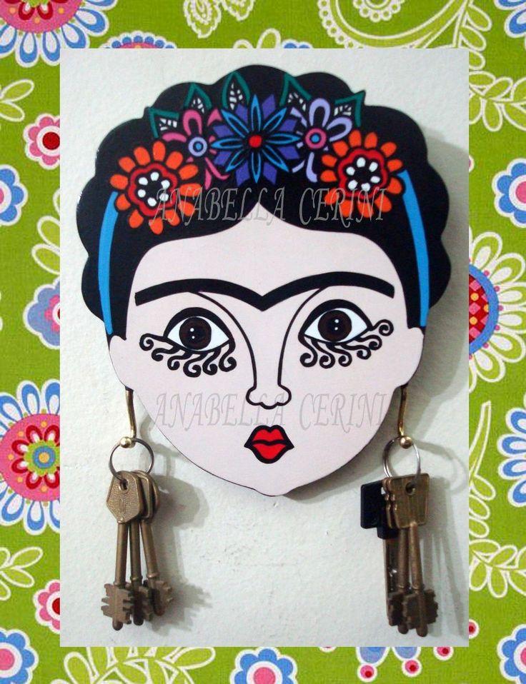 porta llaves de madera frida pintados a mano