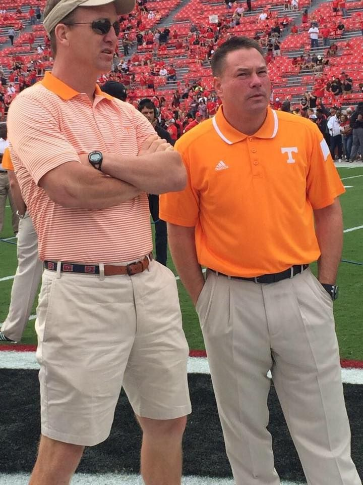 Peyton Manning and University of Tennessee Volunteer Head Coach Butch Jones - Sep 27, 2014  ~ ~ Check this out too, Great sports stories that inform and entertain, RollTideWarEagle.com. ALL FOOTBALL ALL SEC #Vols #UT #SEC #CFB