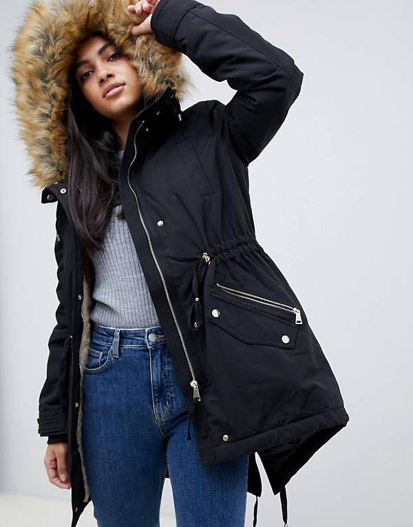 27debc869 Pimkie Faux Fur Collar Parka | Trending Jacket & Coats | Fashion ...