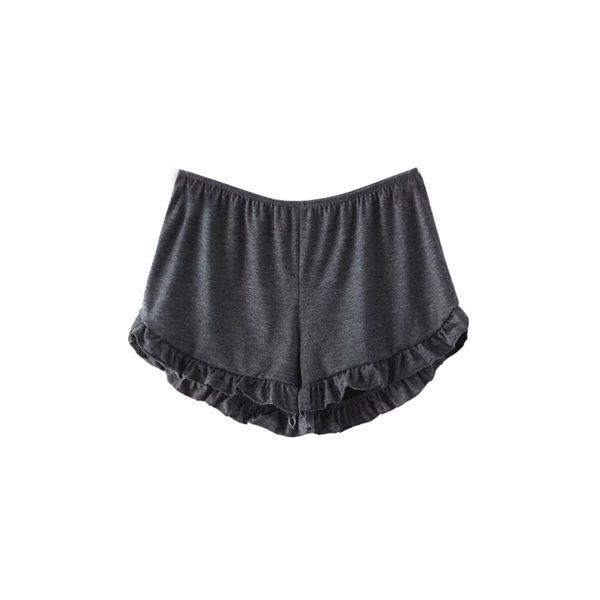 Pure Color Cute Elastic Ruffles Loose Women  Sport Shorts ($19) ❤ liked on Polyvore featuring dark gray and women bottoms shorts