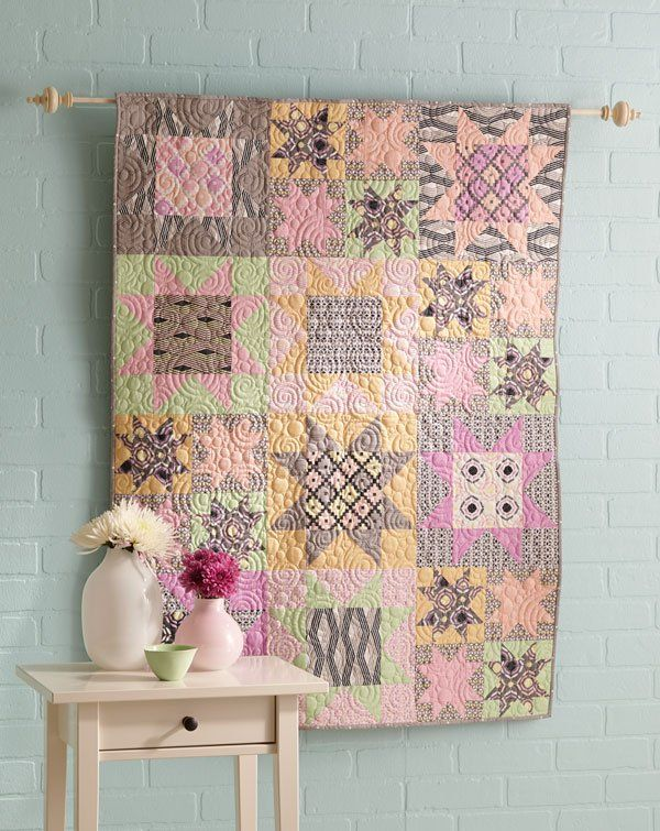 Wasatch Digital Quilting Designs : Pair gray, an updated neutral, with sweet pastels in a star-studded wall hanging. Use solids and ...