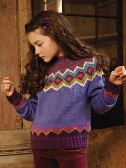 Christmas - Knit this child's fairisle sweater from Little Star, a design by Marie Wallin using the gorgeous yarn Pure Wool dk (super wash wool). With a wonderful placement of fairisle patterning on this garments yoke, and above the welt and cuffs and with full length sleeves and a high neck, this knitting pattern is for the experienced knitter.