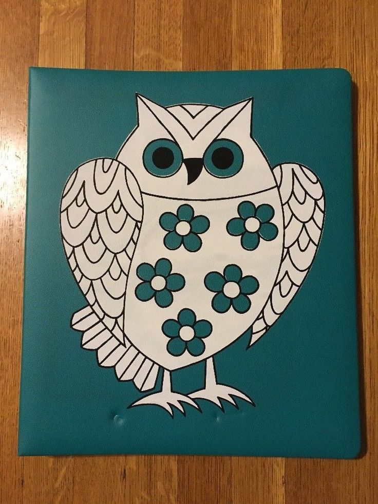 Vintage Owl Scrapbook Album Whimsical Design Teal Turquoise 35 Pages Dry Mount #Unbranded