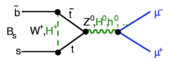 Standard model + Supersymmetric (SUSY) mechanisms (in green) for the rare decay B_s^0 \to mu^+mu^- Here the SUSY mechanism is mediated by SUSY Higgs bosons.