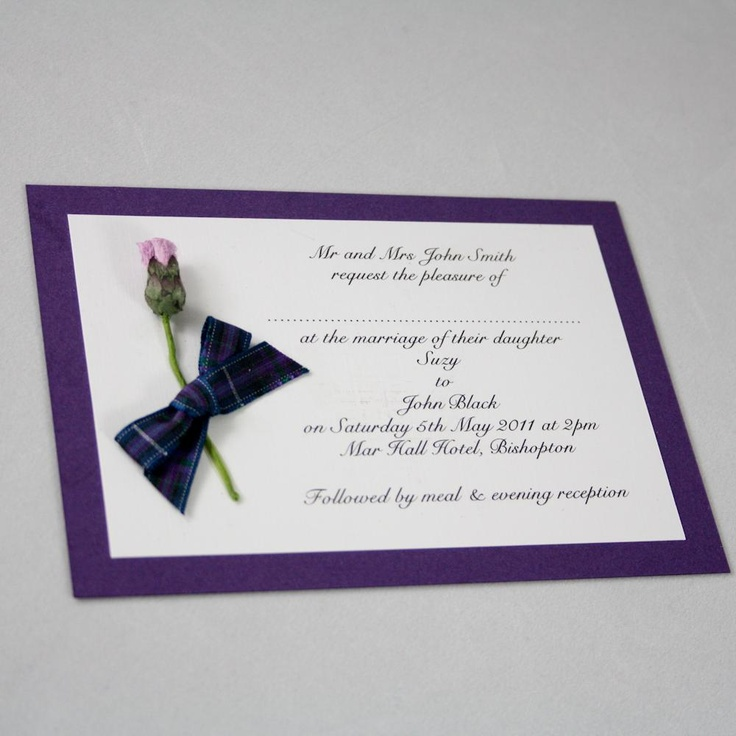 Angelfins Wedding Stationery 'Tartan Thistle Invitation' at www.edinburghbridesweddingguide.com