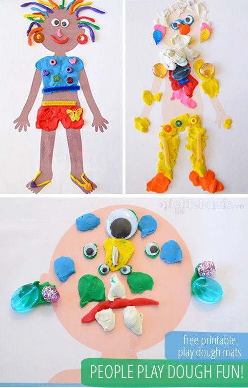 People Play Dough Mats - Free Printable ! Imprimible gratuito + plastilina = actividad creativa e ingeniosa !