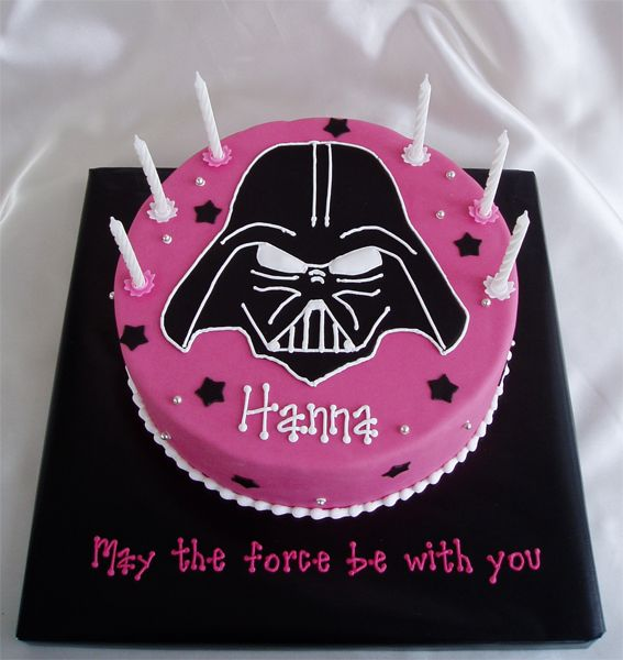 - This was a fun cake to make! The mom wanted a barbie cake for her little girl, the girl wanted darth vader :) I thought that was too funny. They agreed on a girly darth vader cake and left me to figure out what that would be. This is what I came up with. Thought the hot pink color and the silver dragees would add the girly touch. Darth is MMF with RI piping.