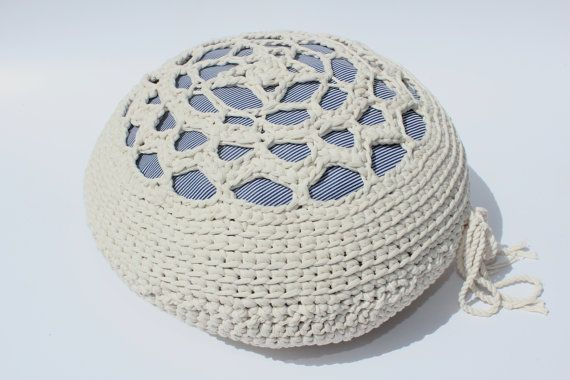 THE LENTIL - Retextil pouffe - Handmade Fabric Crochet Pouf - Hand Crocheted Textile Home Decor - Nursery Decoration - White Boho Ottoman #handmade #home #decor #fabric #textile #fiber #handcrafted #recycled #recycle #weave #woven #crochet #crocheted #knitted #pillow #pouffe #ottoman #footstool #ecodesigne #cushion #nursery #interior #outdoor