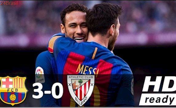Barcelona 3 x 0 Athletic Bilbao - Melhores Momentos - Campeonato Espanhol 04/02/2017 HD