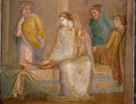 Woman playing kithara. From Pompeii, Italy; 1st century CE. Museo Archeologico Nazionale, Naples, Italy