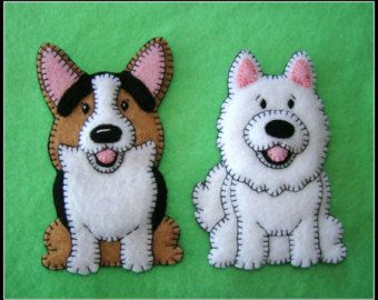 Samoyed handmade felt Christmas Ornament-Refrigerator magnet combo. New Pudgy Puppy series. Very limited. Also can be an Eskimo Spitz.