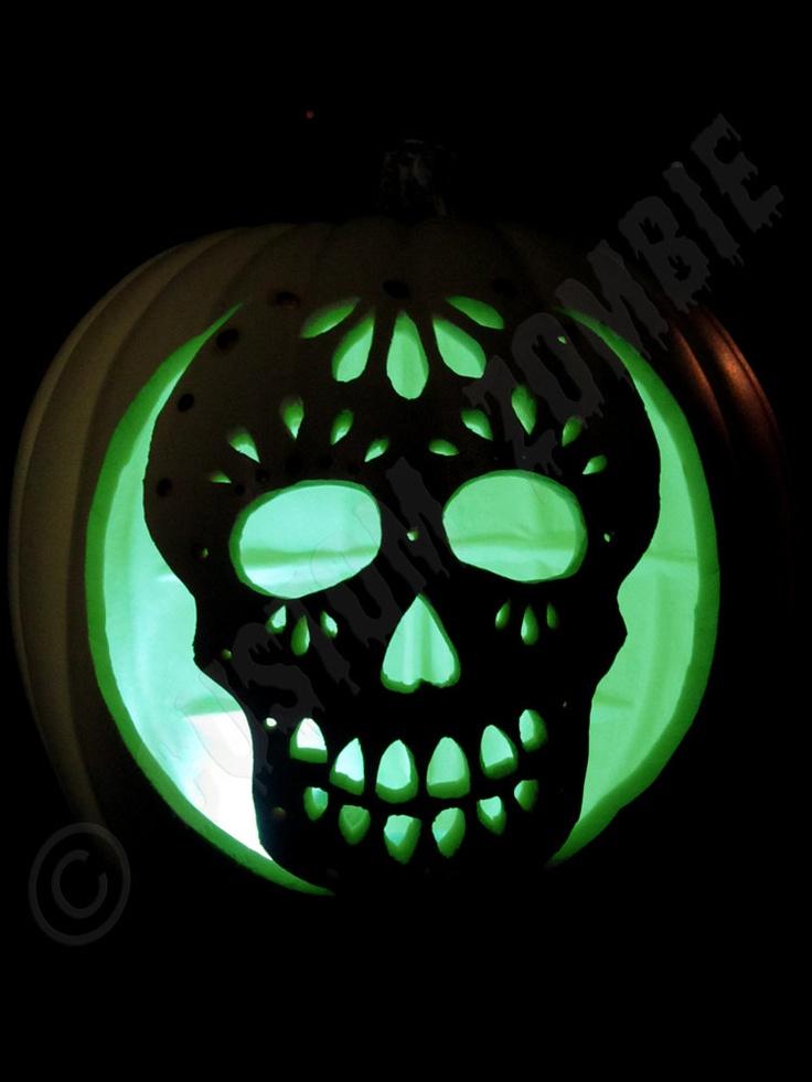 Pin pumpkin stencil sugar skull carving crafts by for Free skull pumpkin carving patterns