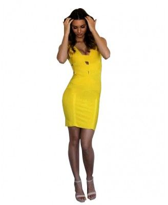 Crystal – Yellow Strappy Bandage Dress - Destiny, available in all size at http://goo.gl/V2fJQr price 129 AUD