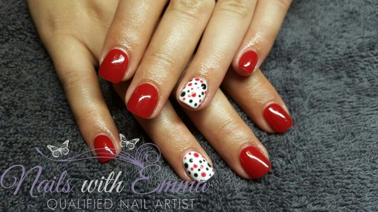 Acrylic Nails + Gel Polish + Dots  Red White & Black