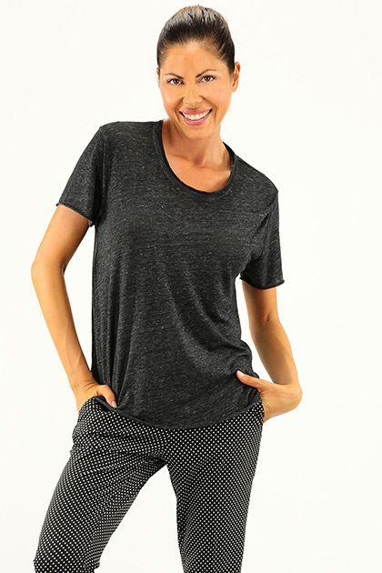 American Vintage - Maglie - Abbigliamento - T-Shirt in cotone e viscosa con manica corta. - ANTRACITE - € 55.00