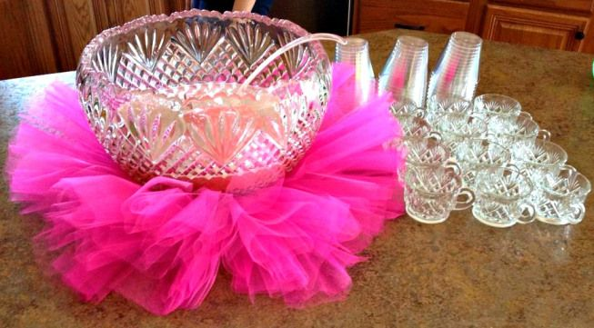 Baby Girl Shower Ideas on a Budget - Pink punch with a tutu for a decoration | http://www.sassydealz.com/2014/02/baby-girl-shower-ideas-budget.html