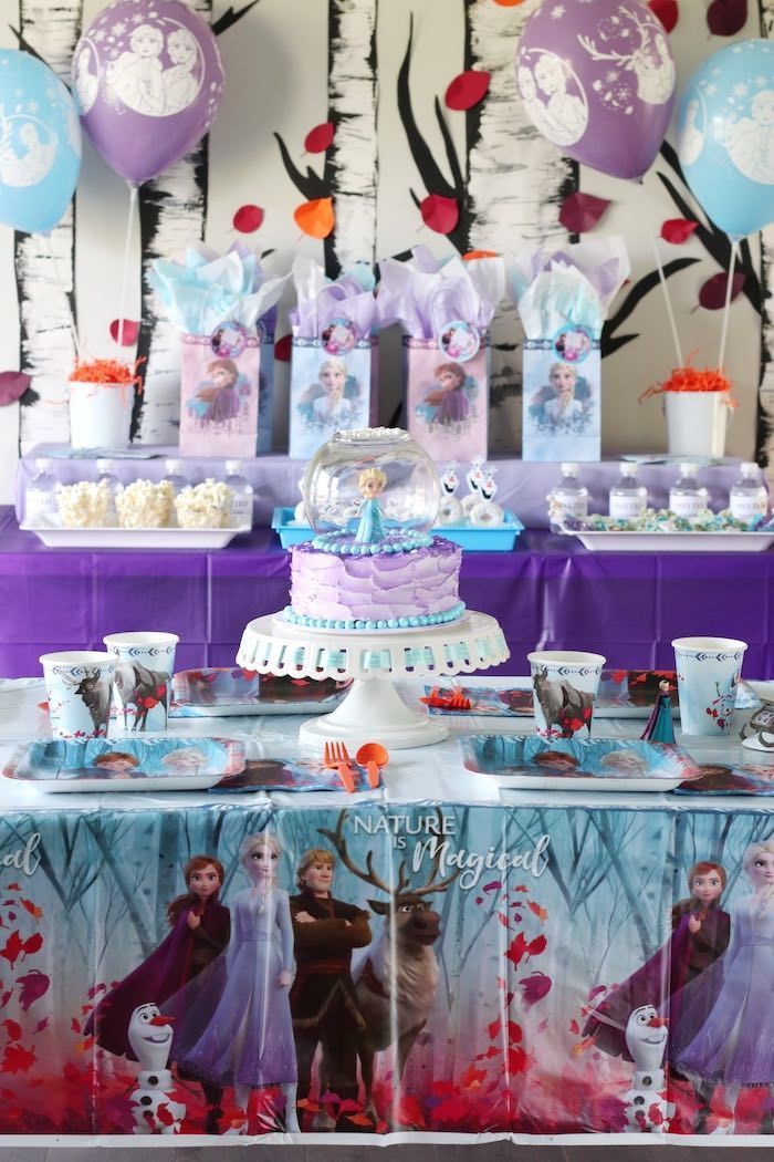 Frozen 2 Birthday Party With Diy Backdrop In 2020 Frozen Themed
