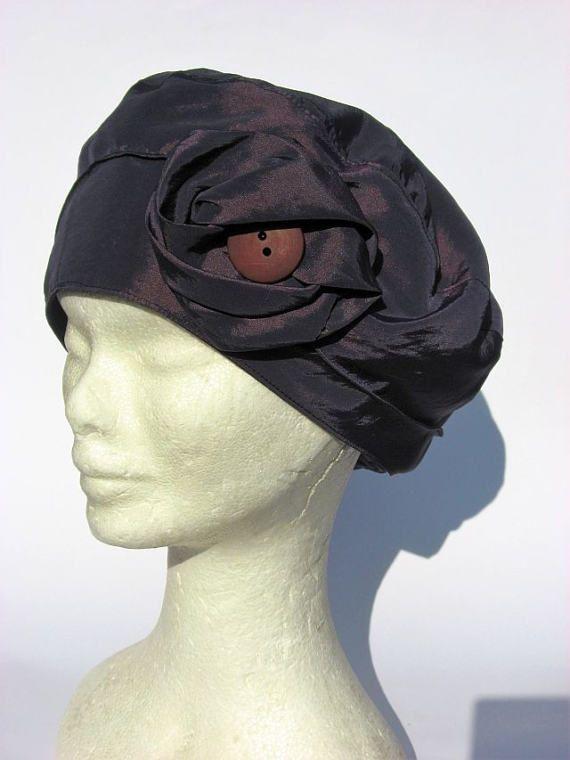 berretto basco taffetà viola scuro basque femme di Janecolori