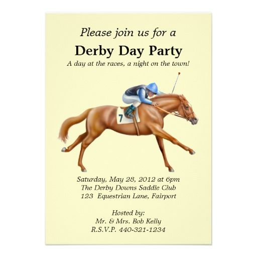 Horse Racing Party Invitation - Good idea for a late spring fundraiser theme.