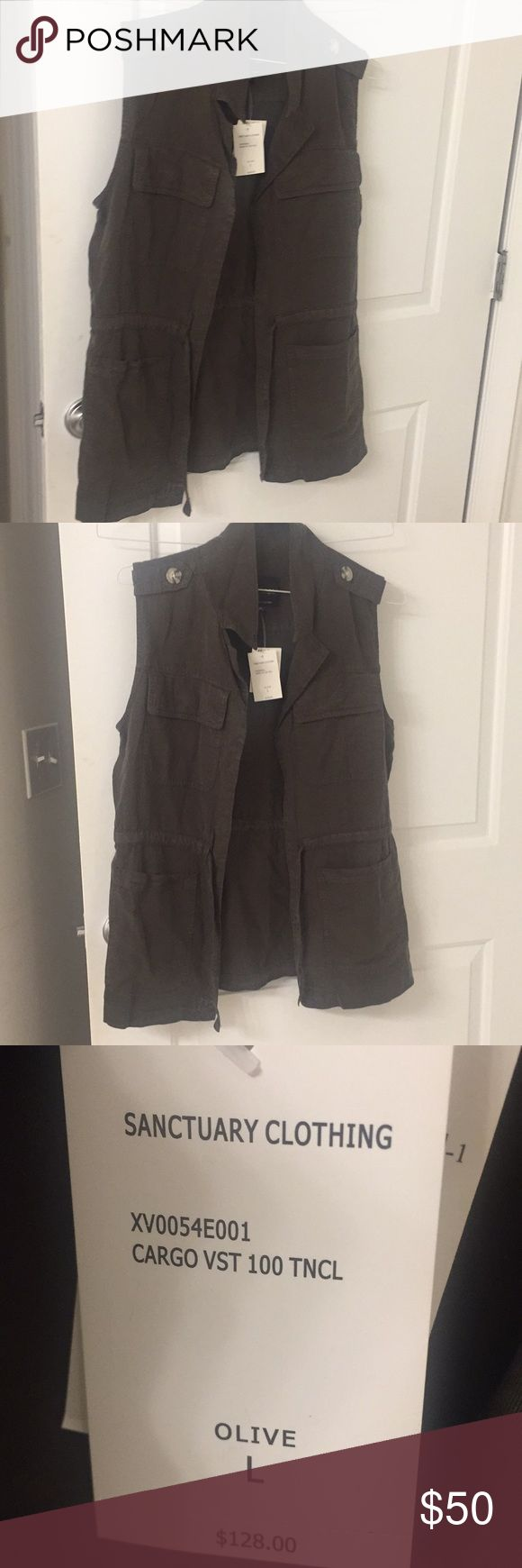 Sanctuary green cargo vest Sanctuary green cargo vest  Brand new w tag For some reason it photographs dark like a grey but it is a true dark olive green like the main photo Sanctuary Jackets & Coats Vests
