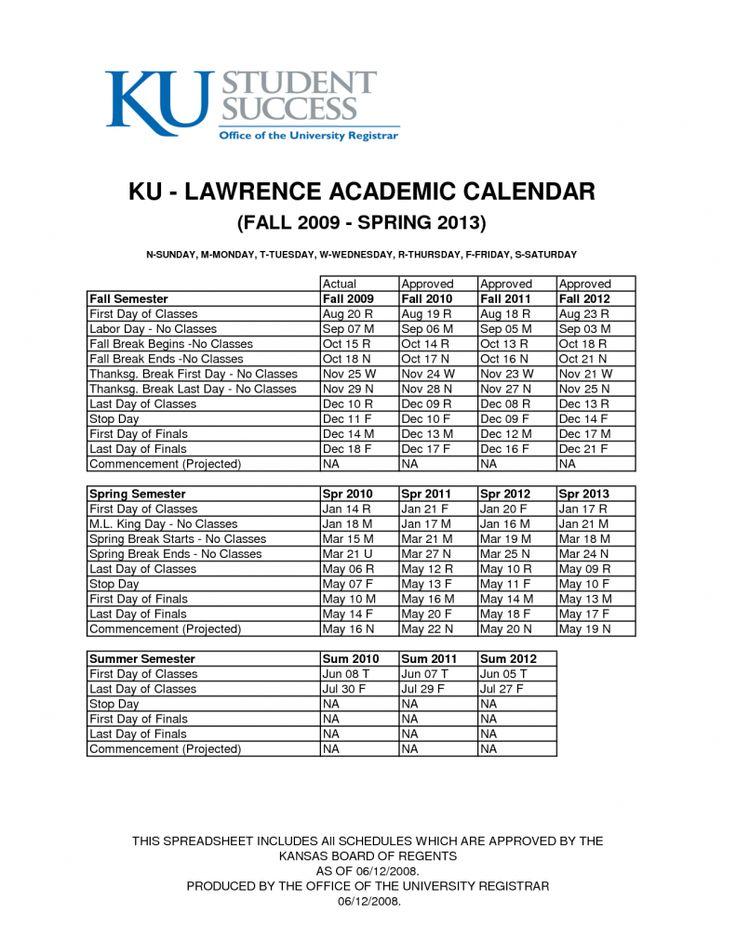 Ku Academic Calendar Academic Calendar Pinterest Academic - sample academic calendar