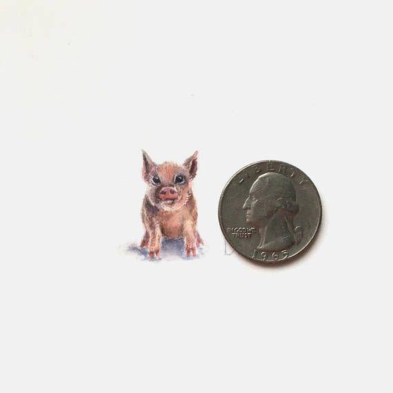 Tiny Piggy original watercolour miniature. Pig art painting