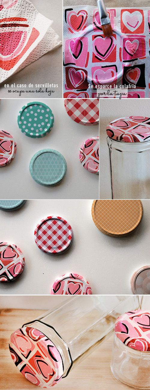 Utilizando servilletas para decorar, pineado por www.estrellasdeweb.blogspot.com