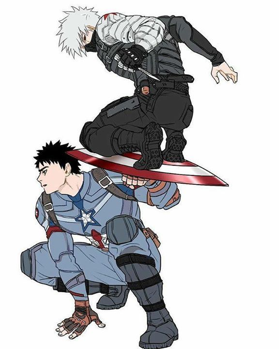 Óbito (Captain América) Kakashi (Winter Soldier)