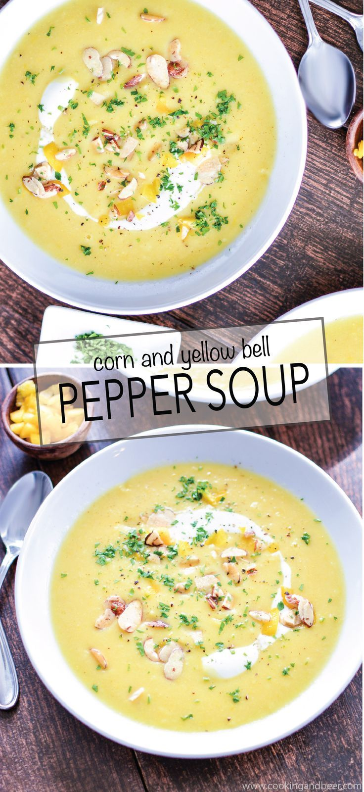 Corn and Yellow Bell Pepper Soup recipe (vegan) is the perfect summertime soup as it highlights fresh produce and delicious ingredients! | www.cookingandbeer.com