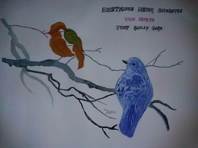 mema: my 3rd painting..bird with love