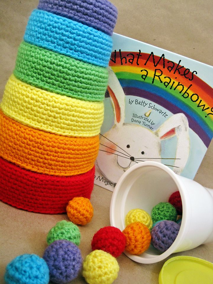 "Crochet Pattern: Rainbow Nesting Bowls (rewritten) goes with the ""Crochet Pattern: Color Sorting Balls"" that I pinned earlier. What a great learning (not to mention FUN) activity for kids! I'm going to use these as decorative bowls! ¯\_(ツ)_/¯"