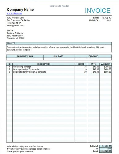 Service invoice for freelancers