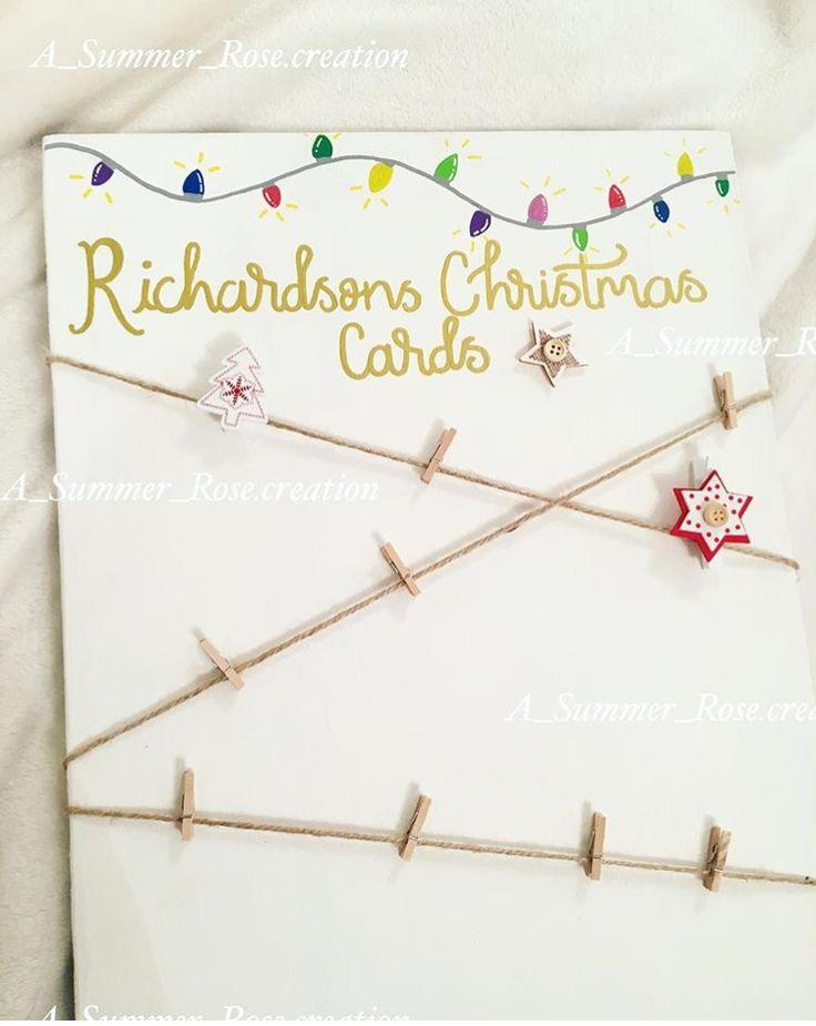 Christmas card holder Christmas cards peg board personalised peg frame Christmas decor Christmas interiors