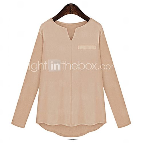 Women's Casual/Daily / Plus Size Simple Fall Blouse,Solid V Neck Long Sleeve Red / Beige / Black Cotton Medium - USD $7.99