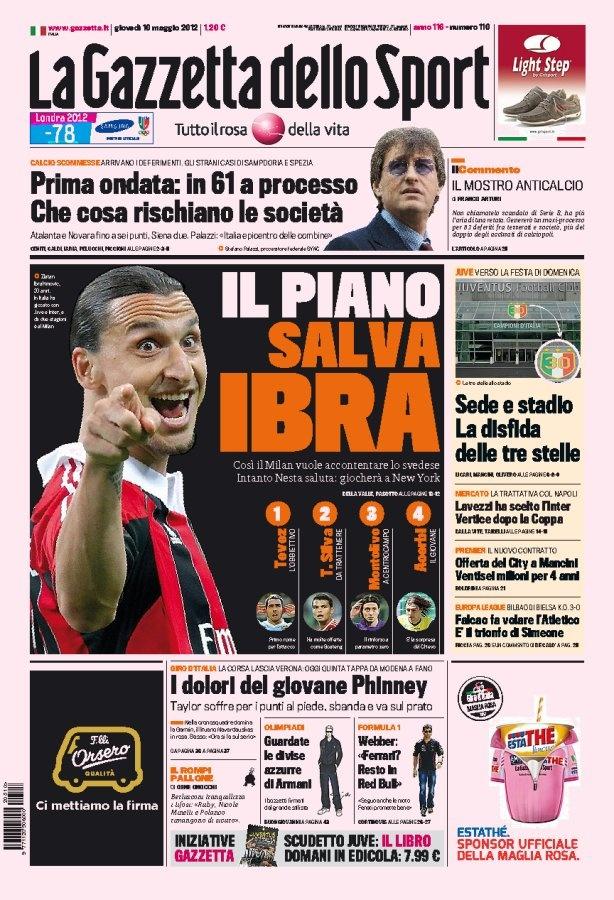 La prima pagina della Gazzetta dello Sport del 17 07 2014