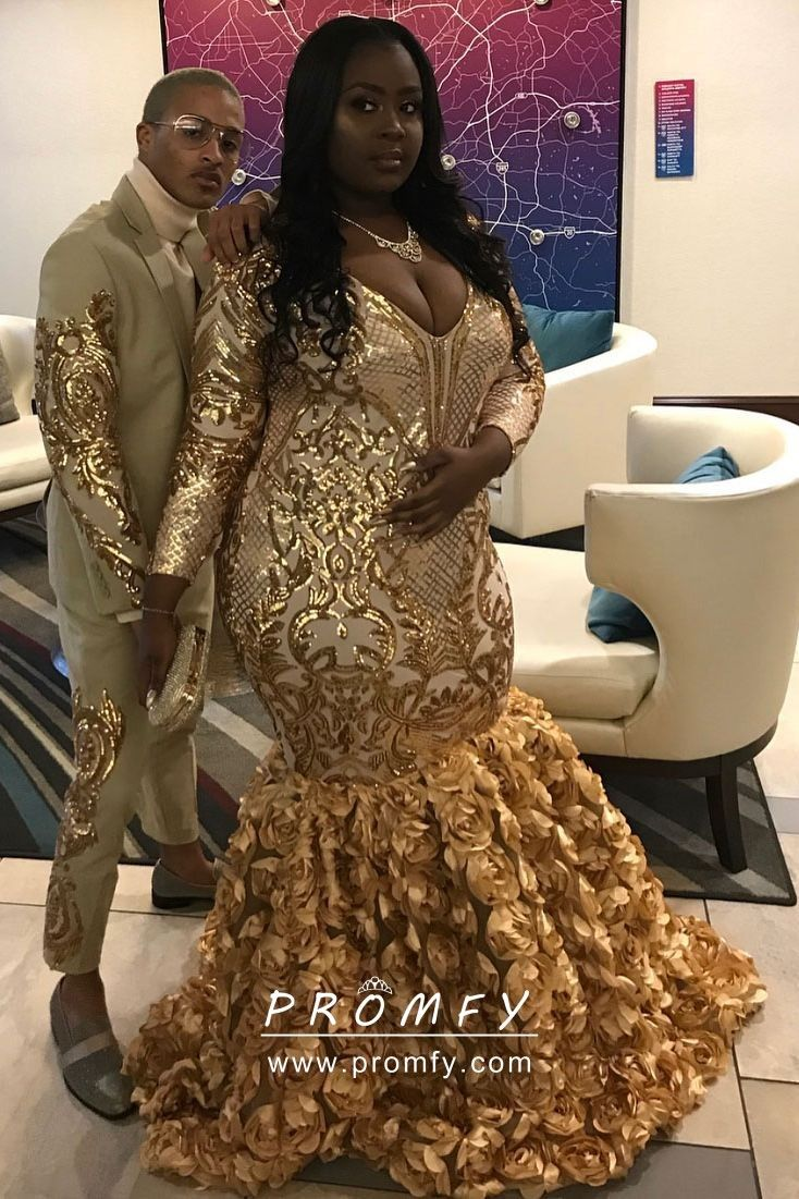 Gold Sequin and 3D Rose Long Sleeve Mermaid African American Plus ...