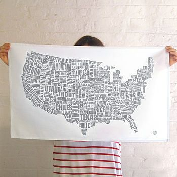 american gastronomy map tea towel by lucy loves this | notonthehighstreet.com