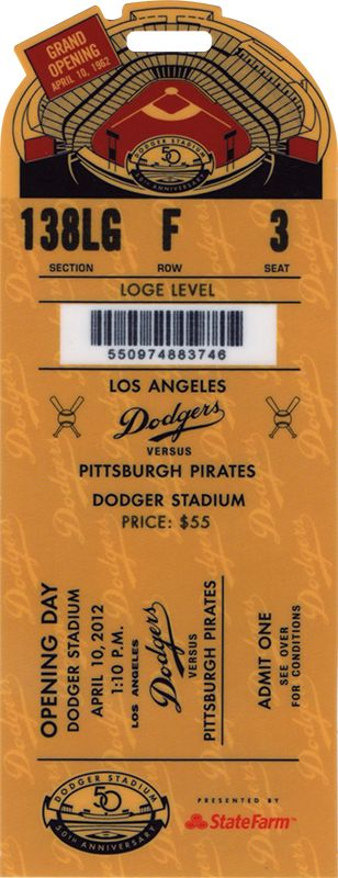 The  Opening Day  ticket for the Los Angeles Dodgers game vs the Pittsburgh Pirates on Apr 10, 2012.
