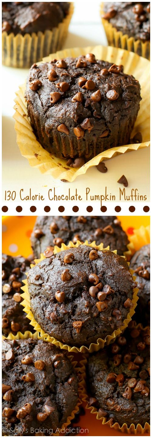 130 Calorie Chocolate Pumpkin Spice Muffins by sallysbakingaddiction.com. Fudgy muffins that are full of flavor and light on calories!