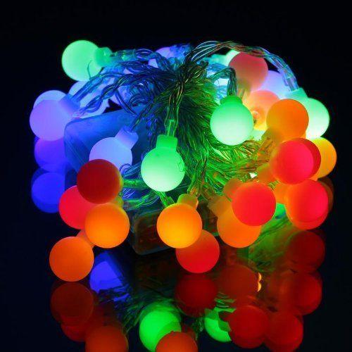 InnooTech LED Lichterkette Globe Gluehbirne Innen Beleuchtung Batteriebetrieben Hochzeit Deko 4 meter 40er Bunt