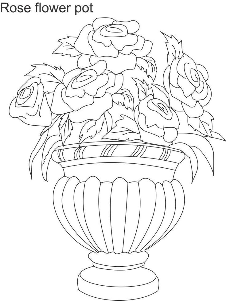 Colouring Pages Of Flowers In Vase : 11 best flower drawings images on pinterest