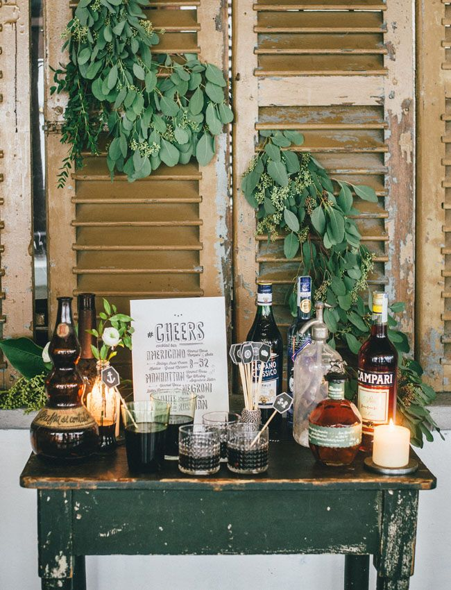 Love the set up of table, shutters and foliage