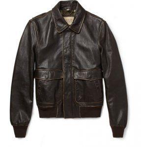 Burberry BritBurnished Leather Bomber Jacket