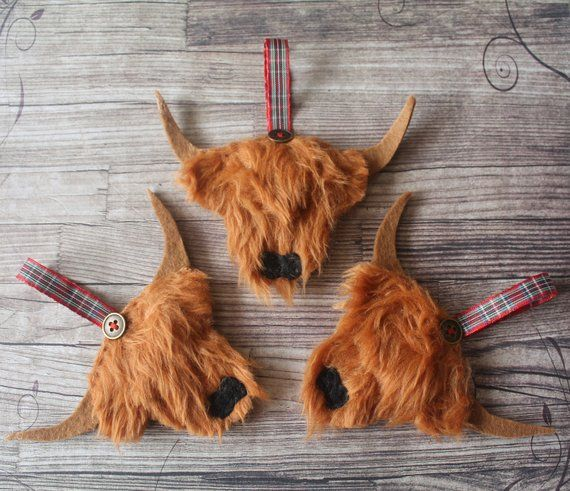 Highland Cow Christmas Decoration Cow Ornaments Christmas Tree Themes Cow Craft