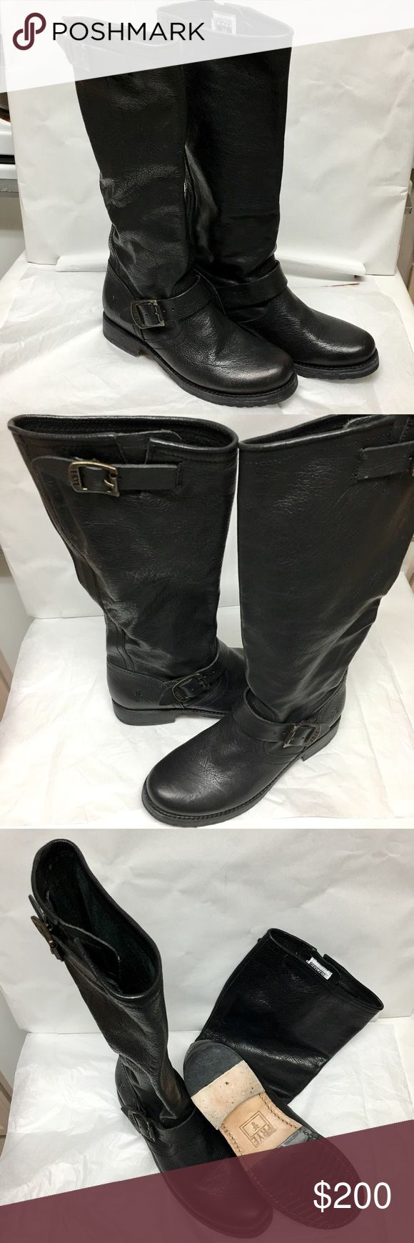 FRYE VERONICA SLOUCH BOOTS Mint condition Frye Veronica Slouch Boots size 6.5. Black leather. Frye Shoes Combat & Moto Boots